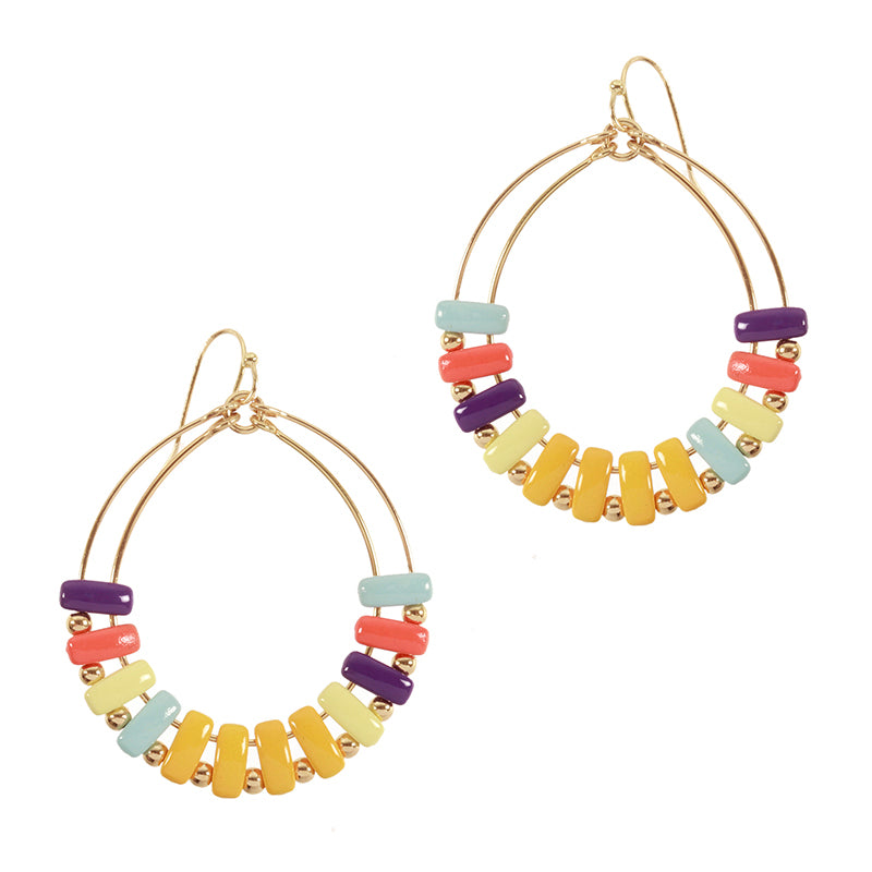 Resin Bead Hoop Earring Yellow Multi - Boutique109 Alpharetta Apparel and Accessories for Women