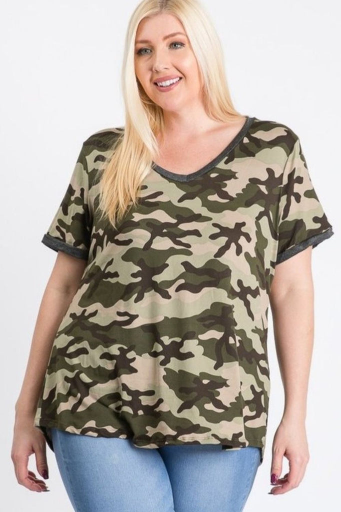 V Neck Camouflage Top - Boutique109 Alpharetta Apparel and Accessories for Women