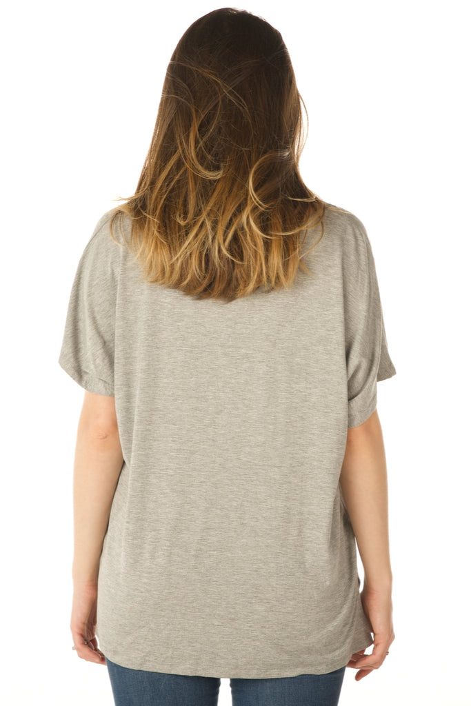 V Neck Basic Swing Top, Modal Fabric (Grey) - Boutique109 Apparel