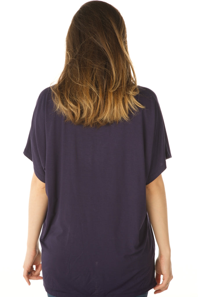 V Neck Basic Swing Top, Modal Fabric (Navy) Back View - Boutique109 Alpharetta Apparel and Accessories for Women