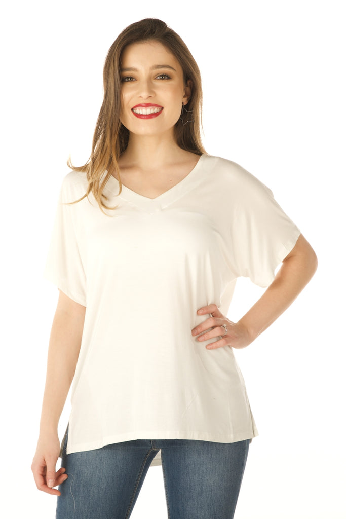 V Neck Basic Swing Top, Modal Fabric (Off White) - Boutique109 Alpharetta Apparel and Accessories for Women