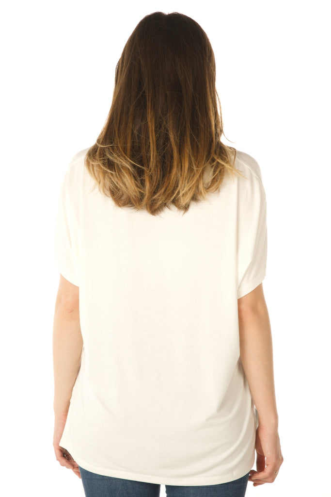 V Neck Basic Swing Top, Modal Fabric (Off White) Back View - Boutique109 Alpharetta Apparel and Accessories for Women