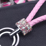 Vegan Leather Keychain with Crystal Accents (Pink/Multi)
