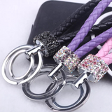 Vegan Leather Keychain with Crystal Accents (Purple/Multi)