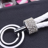 Vegan Leather Keychain with Crystal Accents (White/Clear)