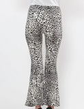 White Leopard Flair Leg Pants