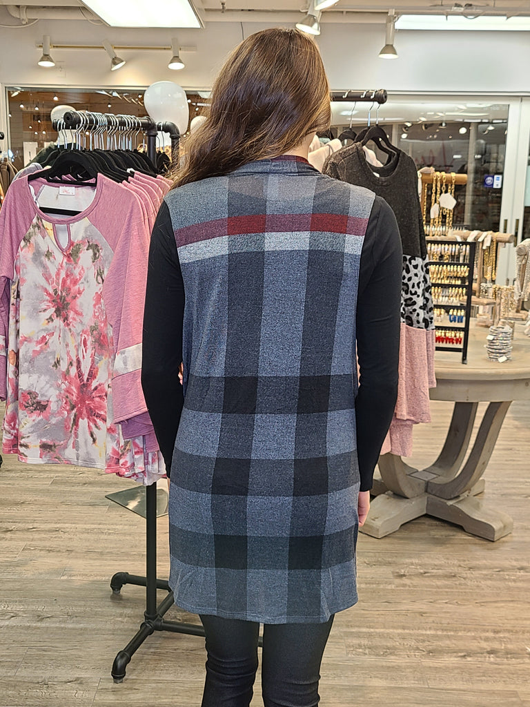 Wide Plaid Vest Regular & Plus Size Back View - Boutique109 Alpharetta Apparel and Accessories for Women