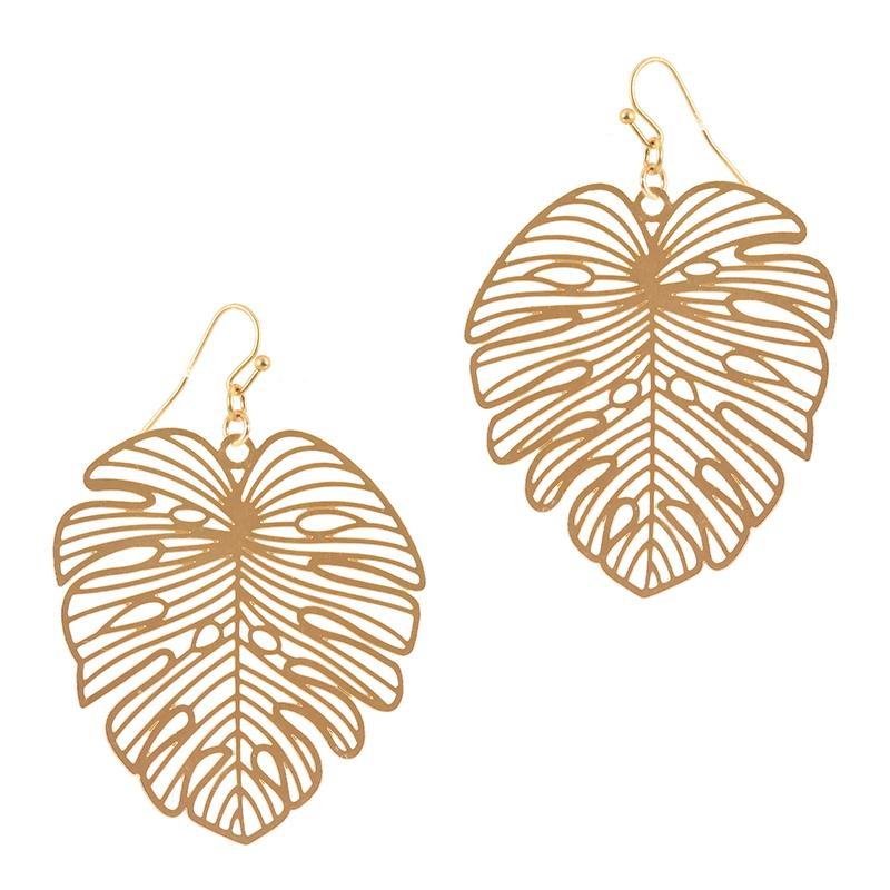 Palm Leaf Earring (Gold) - Boutique109 Alpharetta Apparel and Accessories for Women