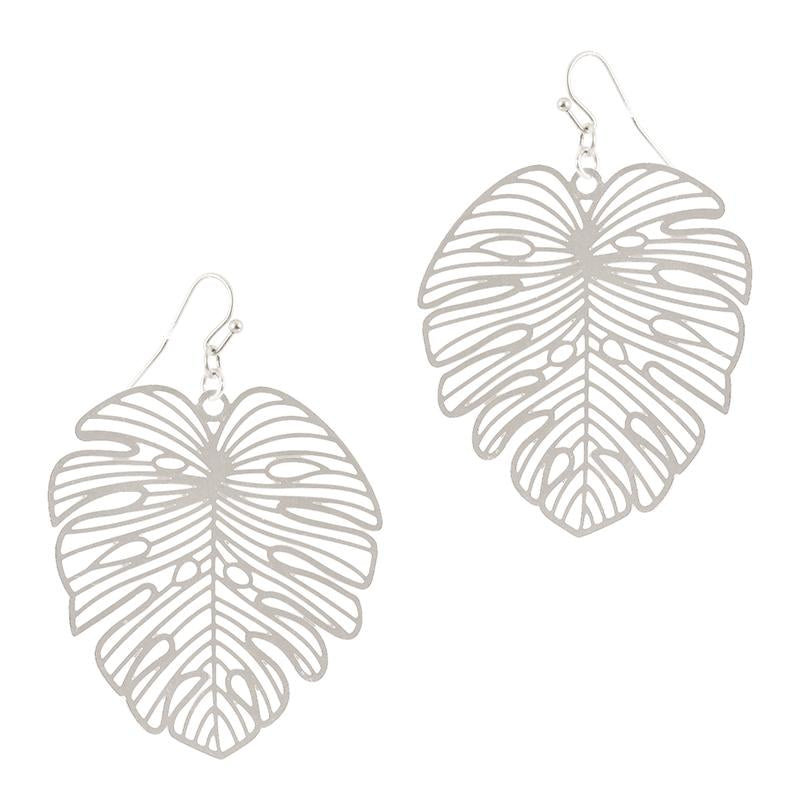 Palm Leaf Earring (Silver) - Boutique109