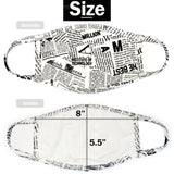 Protective Masks Newsprint Front & Back View - Boutique109 Alpharetta Apparel and Accessories for Women