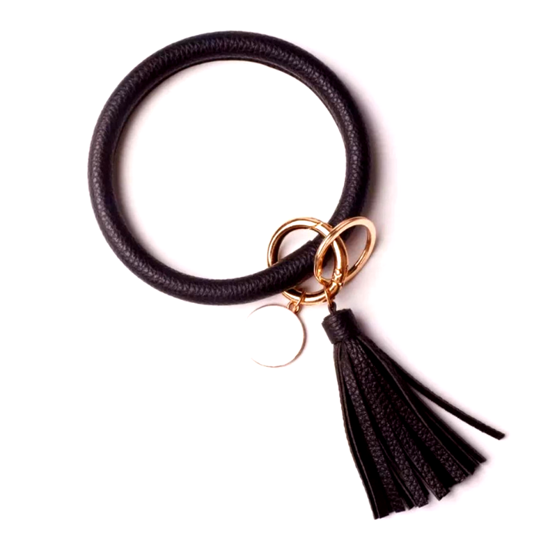 ORing Wristlet Keychain with Tassel and Enamel Disc Accents (Black) - Boutique109 Keychains Accessories and Gift Items