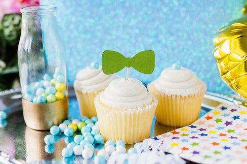 Green Bow Tie Cupcake Toppers