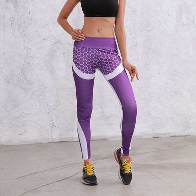 YILU Mesh Pattern Print Leggings Fitness Leggings For Women Sporting Workout Leggins Jogging Elastic Slim Black White Pants