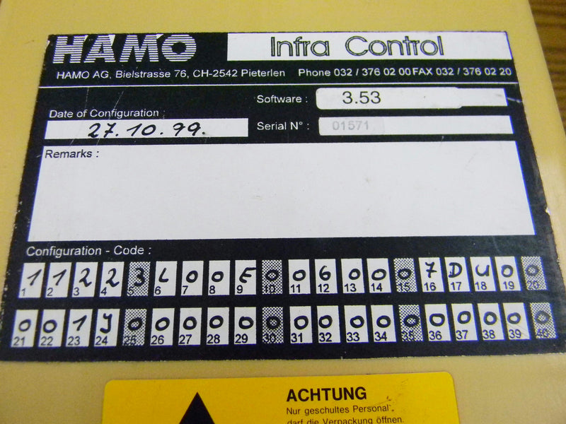 Used: Hamo Infra Control Panel 9-39-62-0173 with 90-Dat Warranty