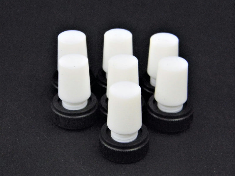 Used: Lot of 7 Chemglass Flask Length PTFE Stoppers w/ Extraction Nut
