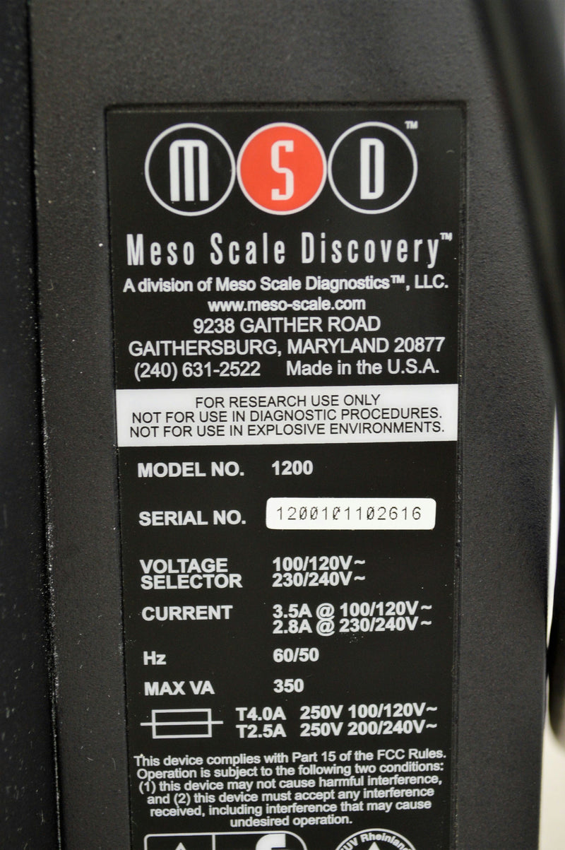 Used: MSD Meso Scale Discovery Model 1200 Sector Imager 6000 Plate Microplate Imager