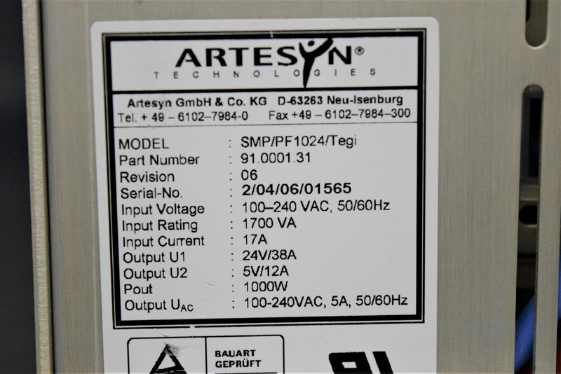 Used: Artesyn SMP/PF1024 Tegi 91.0001.31 Power Supply Roche Cobas TaqMan 96 w/Warranty