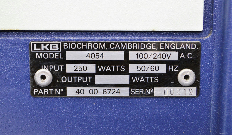 LKB Biochrom Ultrospec Plus 4054 Spectrophotmeter specifications label