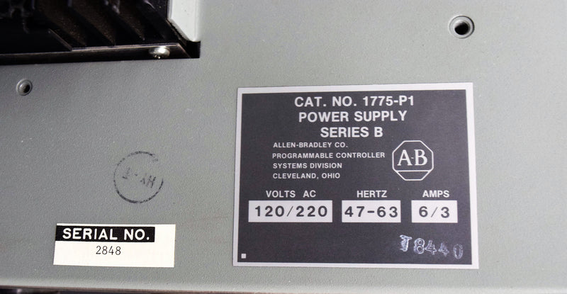 Used: Allen-Bradley Cat. No. 1775-P1 Series B Power Supply Programmable Controller