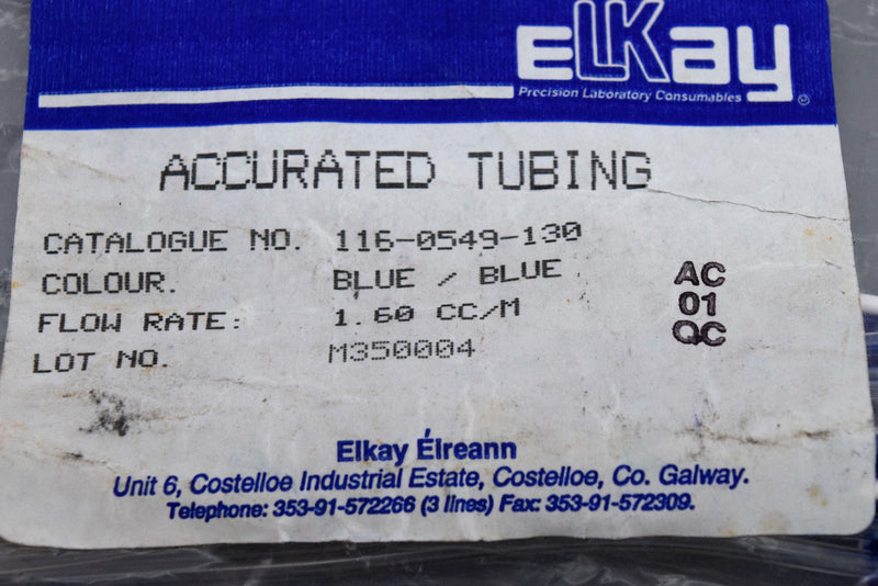 Used: Fisherbrand Manifold Pump Tubing Blue/Blue 14-190-511 1.65mm I.D. (Lot of 6)