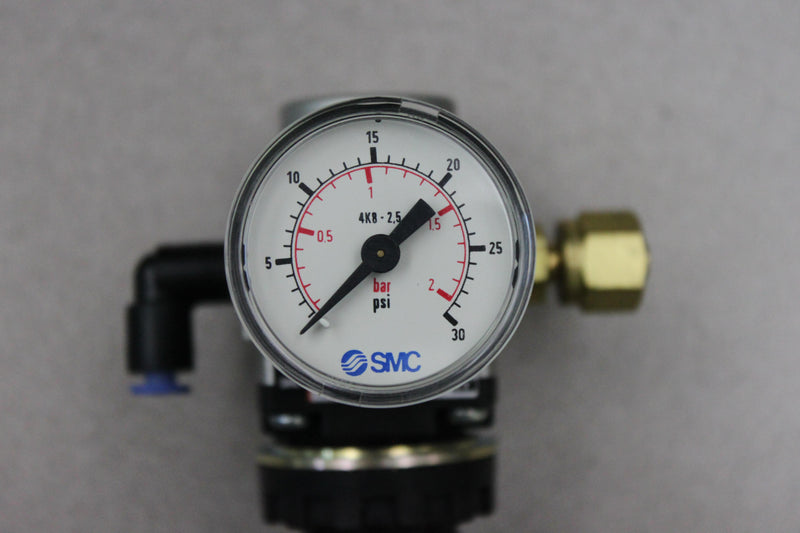 Used: SMC 30PSI Pressure Gauge & SMC AR20-F01-1 from Bruker Daltonics Sequenom