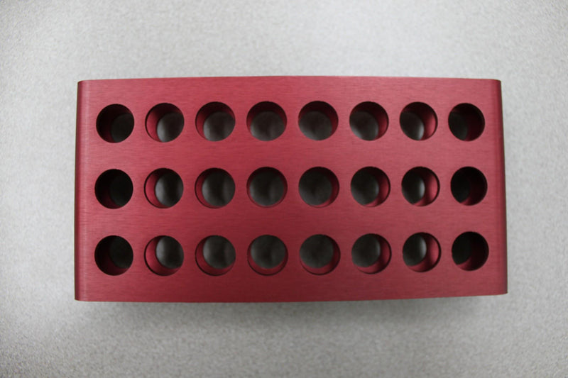 Used: Beckman Coulter 348122 3 x 8 24-Space Maroon Red Test Tube Rack