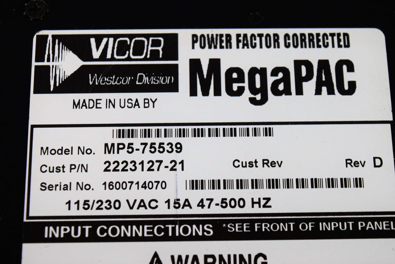 Used: Vicor MegaPAC/HP MP5-75539, 155/230 VAC, 8-Pac Slots Power Supply Warranty