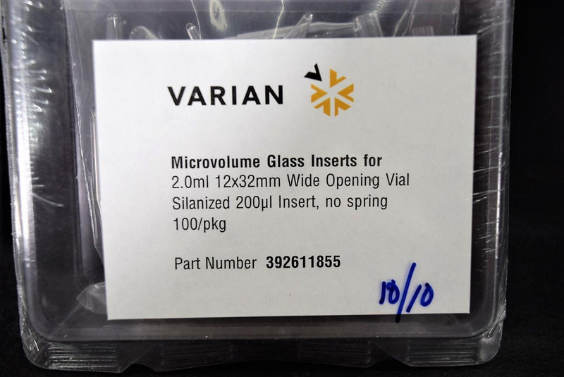 Used: Varian 392611855 Microvolume Glass Inserts 2.0ml Silanized Vial 100CT Pack of 9