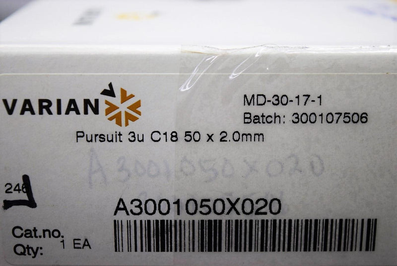 Used: Varian A3001050X020 Pursuit 3u C18 50x2.0mm HPLC Column Used with Warranty