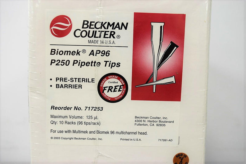 Used: Beckman 717253 Biomek AP96 P250 Tips Pre-Sterile Barrier 125uL(Lot of 2)Warranty