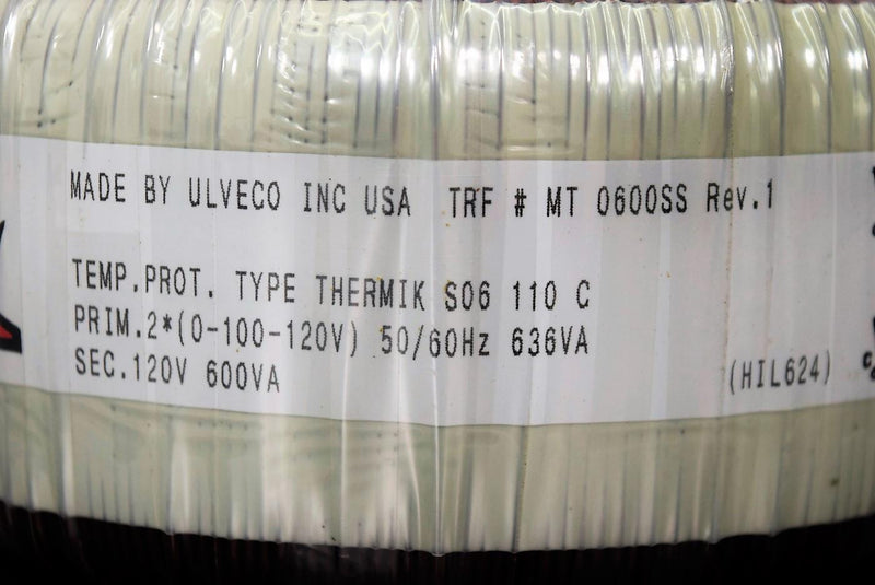 Used: Ulveco Inc. Toroidal Transformer MT 0600SS 90-Day Warranty