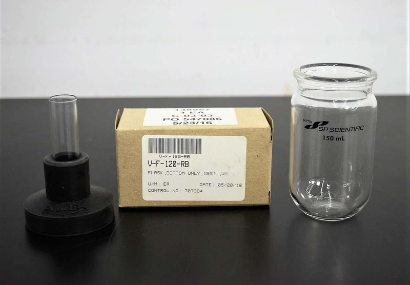 New/Open Box: VirTis 148957 150mL Flat Bottom Flask w/Wide Mouth Filter Seal for Freeze Dryer