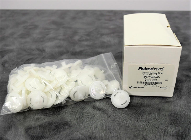 New: Fisherbrand 09-719H 25mm Non-Sterile PTFE 0.45um Syringe Filters Box of 50