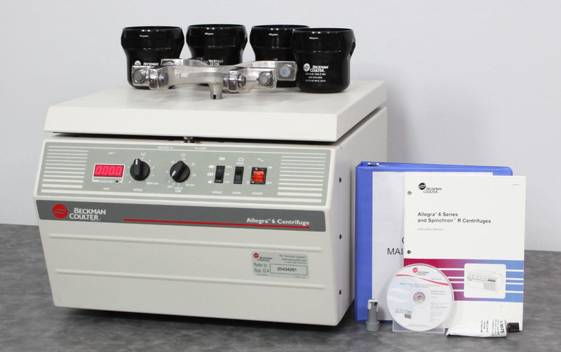 Beckman Coulter Allegra 6 benchtop centrifuge with GH-3.8 rotor and user manual