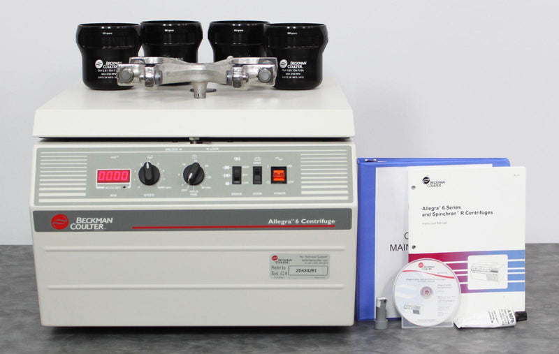 Allegra 6 centrifuge with GH-3.8 rotor and instruction manual