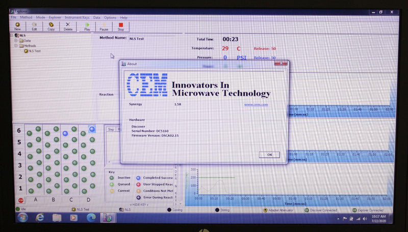 Used: CEM Discover-S Microwave Digestion System 908850 w/ Explorer 48 & Software