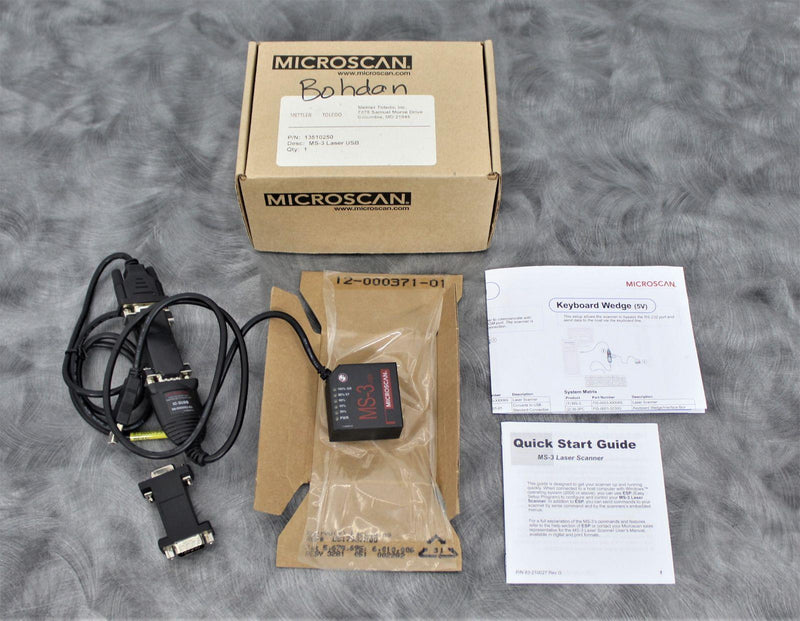 Used: Microscan MS-3 Laser FIS-0003-0003G Barcode Scanner/Reader w/ Conversion to USB