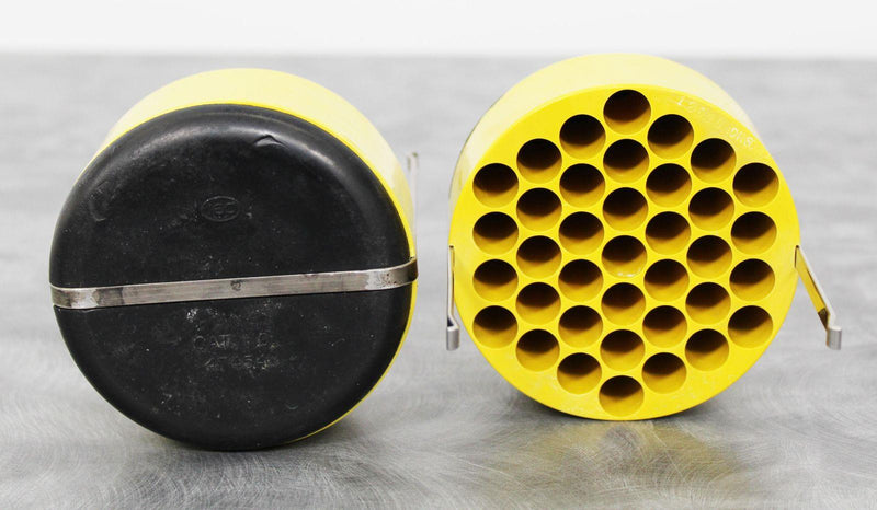 Used Lot of 2 IEC 5737 Yellow Centrifuge Rotor Bucket Insert Adapters 37x10mL Side View