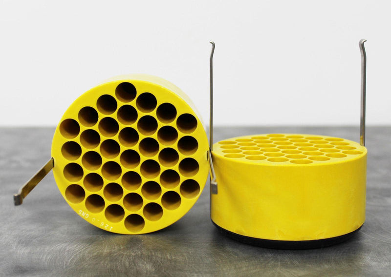 Used Lot of 2 IEC 5737 Yellow Centrifuge Rotor Bucket Insert Adapters 37x10mL Another Side View