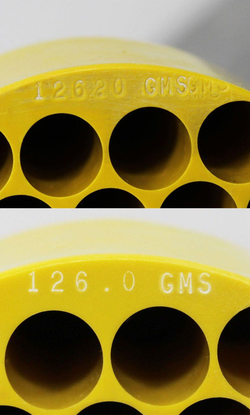 Used Lot of 2 IEC 5737 Yellow Centrifuge Rotor Bucket Insert Adapters 37x10mL Close Up