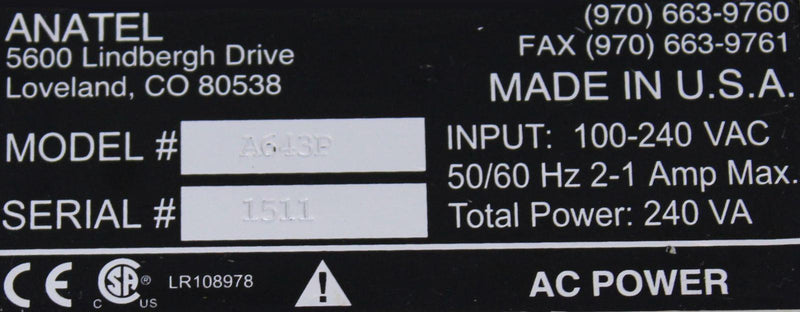 Anatel A643P TOC Analyzer Converter/Power Supply  label