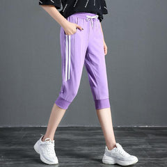 "Striped Capri Pant ""Shut up and run"""