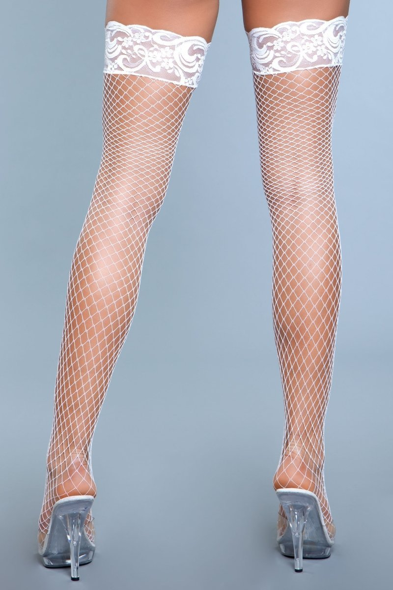 Amber Lace Top Fishnet Thigh High Stockings