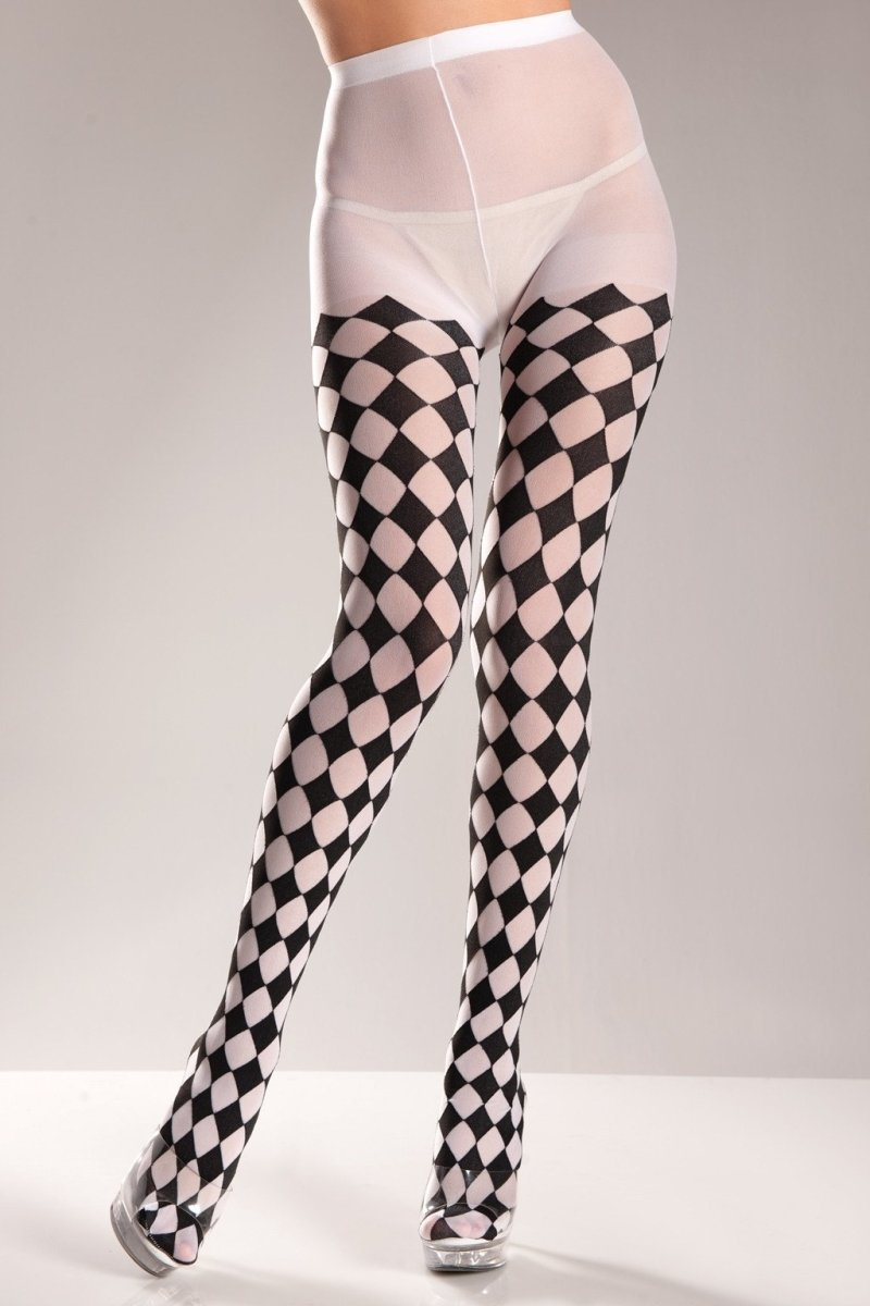 Checkered Pantyhose Black - White