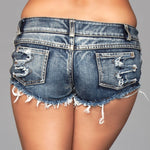 Distressed Side Cutout Shorts - Medium Wash