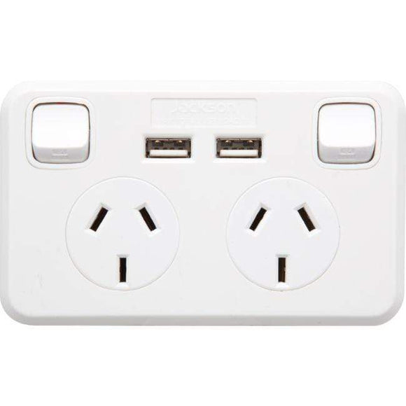 Jackson Jackson Double Power Point GPO with 2 USB Charging Sockets 2.1A Charge Wall Plates