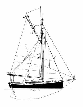 26 ft Gaff Cutter, Design #116a