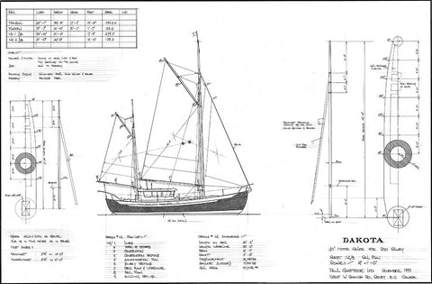 "45 ft Gaff-Rigged Motor Sailer ""Dakota"", Design #114"