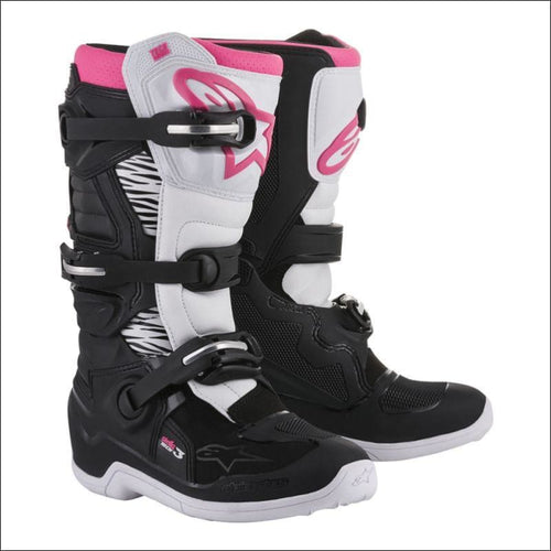 ALPINESTARS WOMENS TECH 3 STELLA MX BOOTS - 6 / BLACK/WHITE/PINK - FOOTWEAR