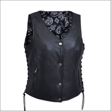 BLACK PAISELY LEATHER VEST - VEST